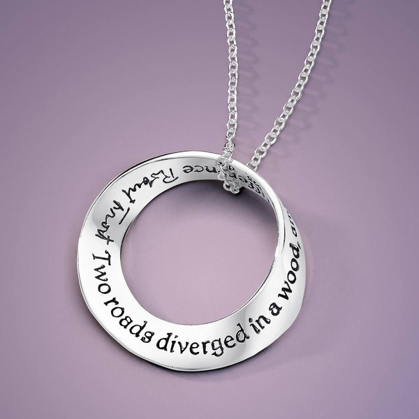 Two Roads Diverged Frost Quote Mobius Necklace
