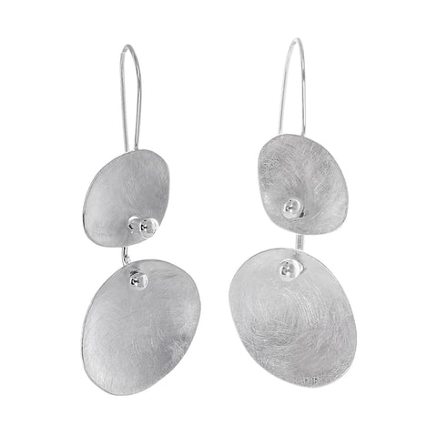 Two Tiered Brushed Sterling Earrings