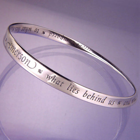What Lies Within Emerson Quote Sterling Bracelet