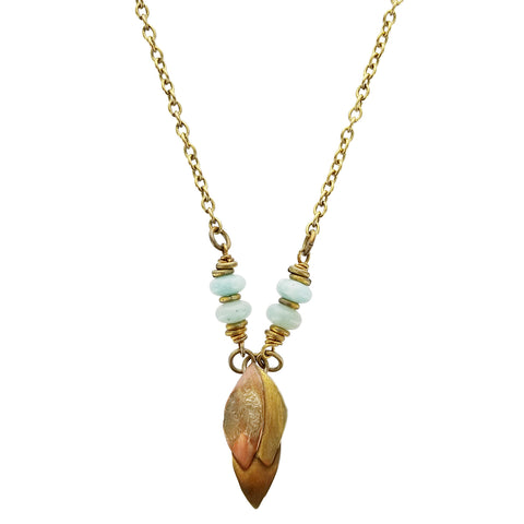 Whitney Brass Copper And Amazonite Petals Necklace