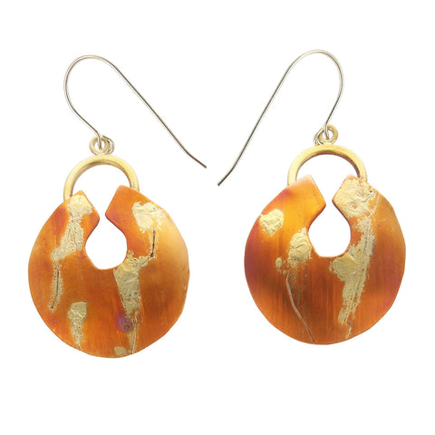 Whitney Patinaed Copper And Gold Earrings