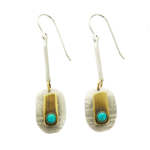 Whitney Sterling Brass Turquoise Ancient Musings Earring