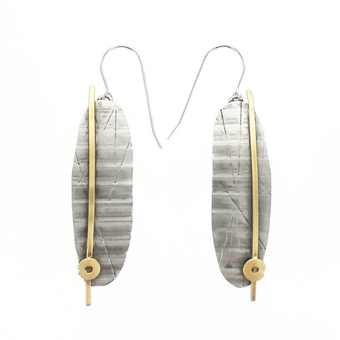 Whitney Mixed Metal Silver Textured Oval Earrings
