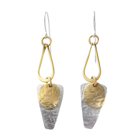 Whitney Mixed Metal Textured Shapes Full Moon Earrings
