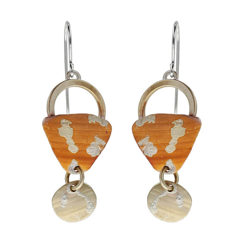 Whitney Patinaed Triangle Circle Drop Earrings