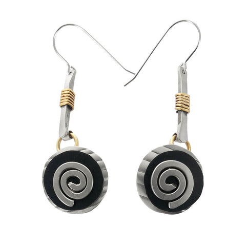 Whitney Silver Spiral Tapestry Earrings