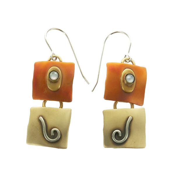 Whitney Patinaed Squares Spiral Earrings