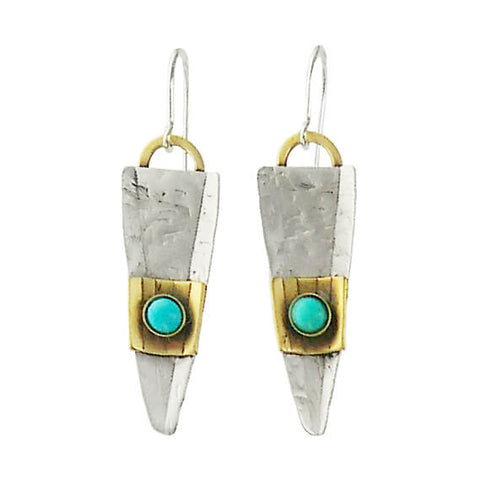 Whitney Sterling Silver Textured Mixed Metal Turquoise Earrings