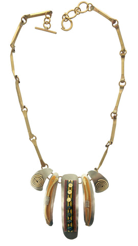 Whitney African Textiles Spiral Necklace