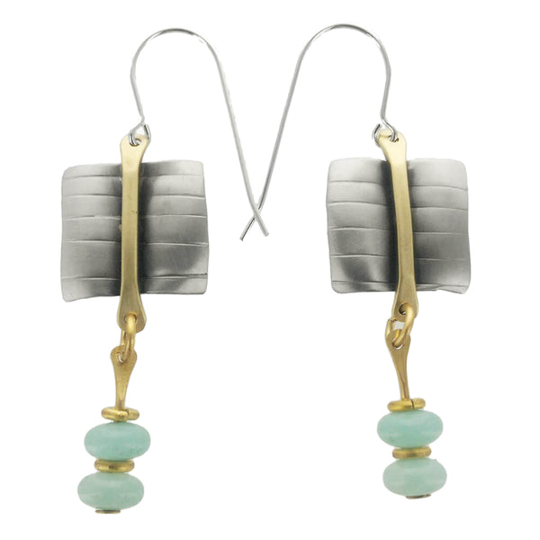Whitney Silver Textured Amazonite Link Earrings