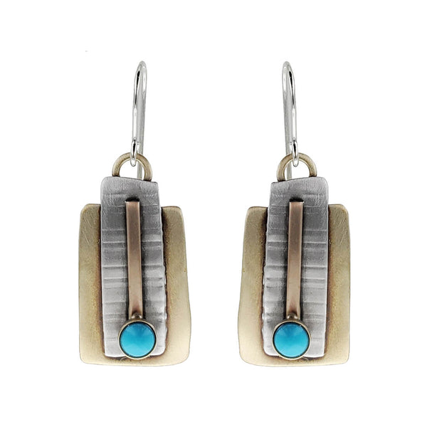 Whitney Turquoise Path Art Deco Earrings