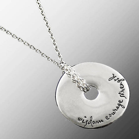Wisdom Courage Strength Pendant Necklace