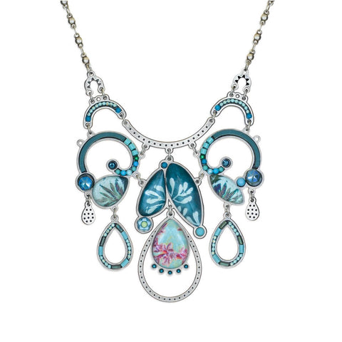 Yoolie Soft Blues Dramatic Drop Necklace