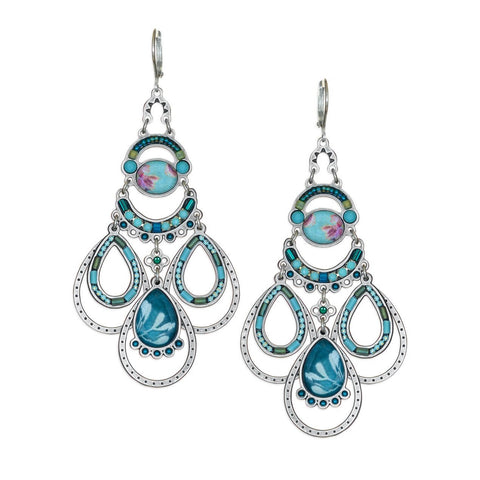 Yoolie Soft Blues Arch Swing Teardrop Earrings