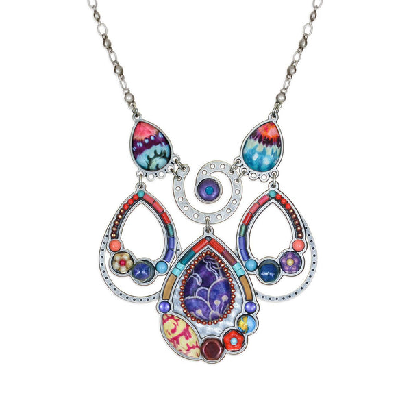 Yoolie Colorful  Spiral Teardrop Necklace