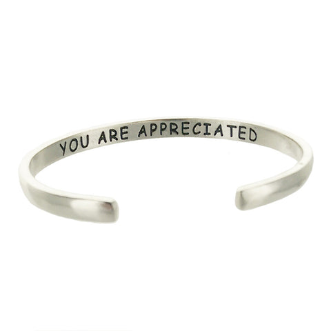 """You Are Appreciated"" Sterling Flower Cuff Inside Inscription View"