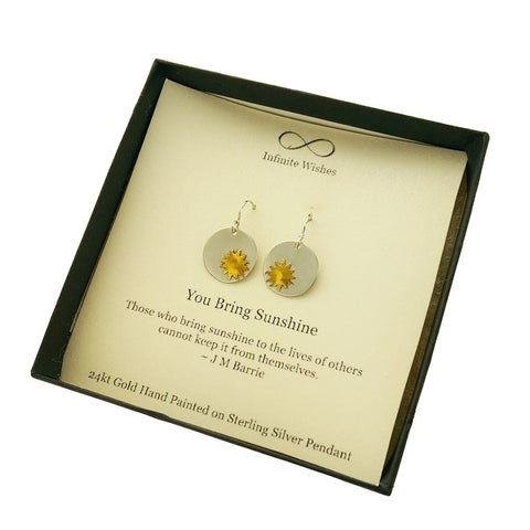 You Bring Sunshine Quote Earrings In Gift Box