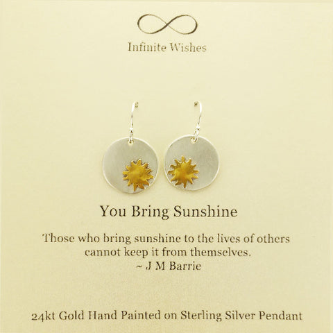 You Bring Sunshine Quote Earrings On Card