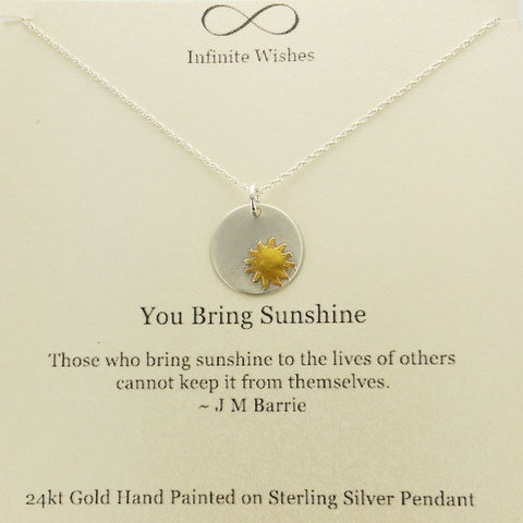 You Bring Sunshine Necklace On Quote Card