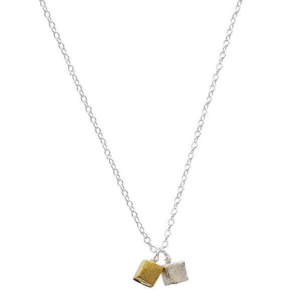 Zina Kao Contemporary Gold Silver Double Mini Cube Necklace