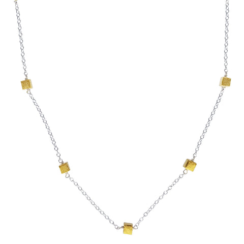 Zina Kao Linked Five Gold Mini Cubes Necklace