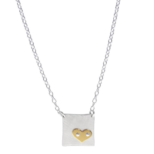 Zina Kao Petite Gold Heart On Sterling Square Necklace