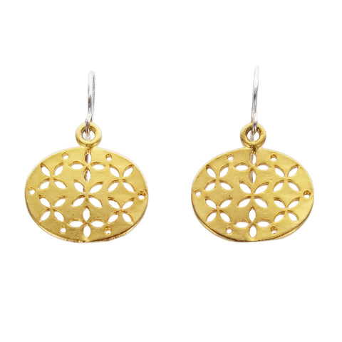 Zina Kao Star Flower Oval Earrings