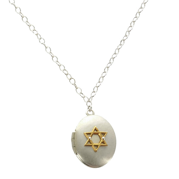 Zina Kao Magen David Locket Mixed Metal Oval