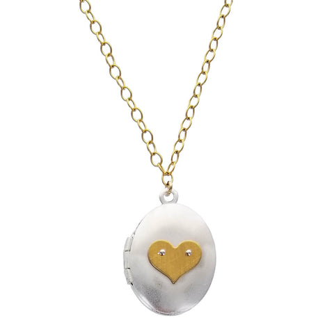 Zina Kao Sterling Silver And Gold Heart Locket