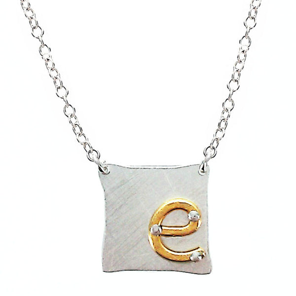 Zina Kao Riveted Initial Necklaces Gold On Silver
