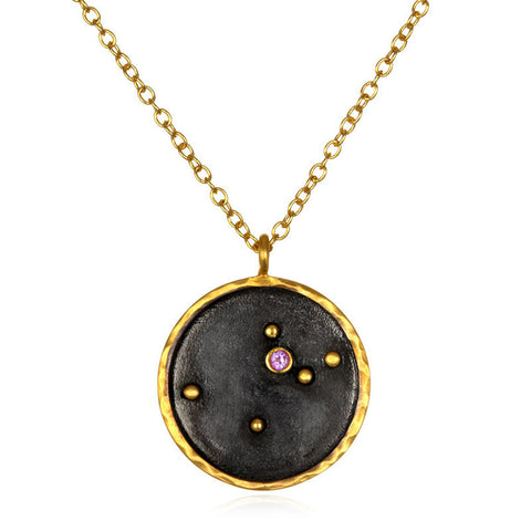 Satya-Zodiac Aquarius Amethyst Necklace