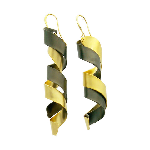 Zzan Israeli Black Gold Spiral Twist Earrings