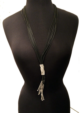 Zzan Israeli Long Black Silver Pendant Necklace Full View