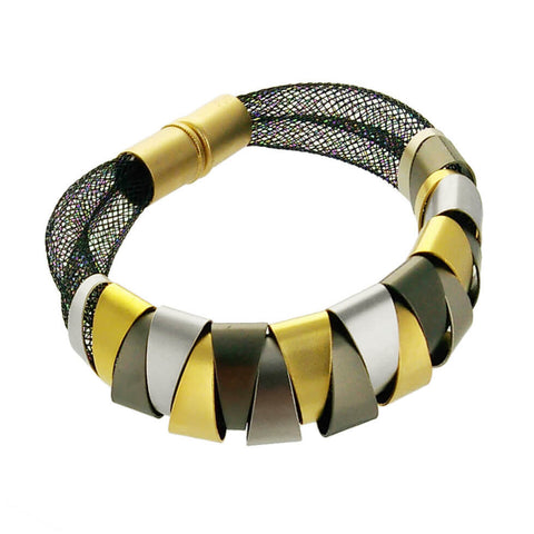 Zzan Israeli Mixed Metals Double Mesh Bracelet