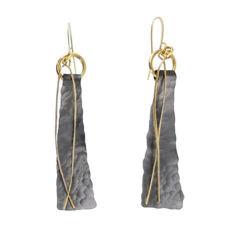Zzan Textured Gray Slender Gold Stem Earrings