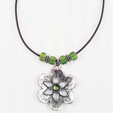 Green Swarovski Crystal on Hammered Silver Flower Necklace