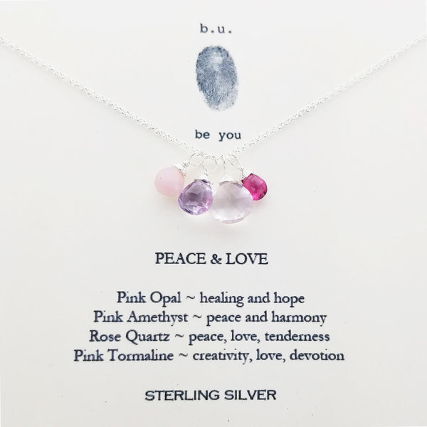 b.u. Peace And Love Necklace On Quote Card