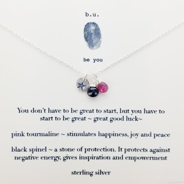 b.u. Start To Be Great Necklace On Quote Card
