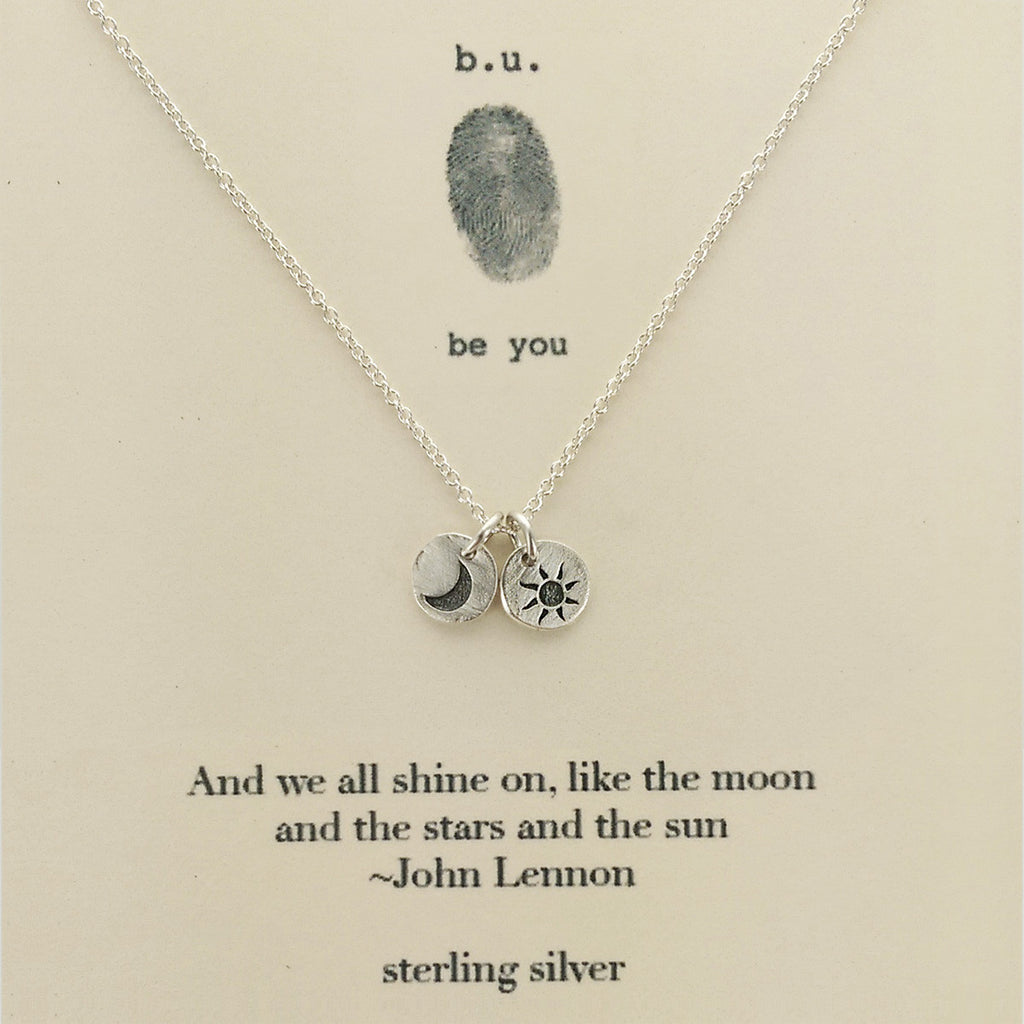 B U We All Shine On Lennon Quote Necklace Sheva Jewelry