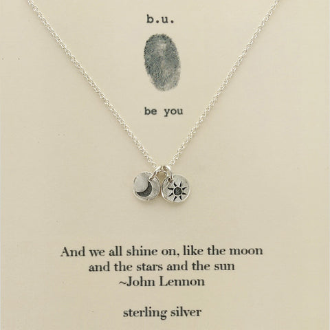 b.u. We All Shine On Lennon Quote Necklace On Card