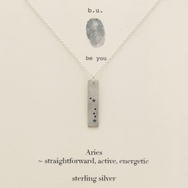 b.u. Aries Zodiac Necklace On Quote Card