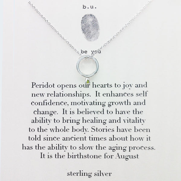 b.u. August Birthstone Necklace