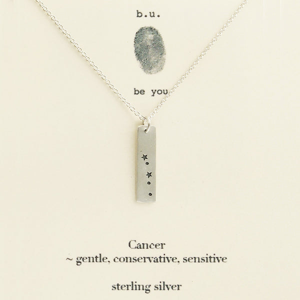 b.u. Cancer Zodiac Necklace On Quote Card