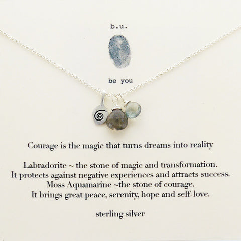 b.u. Courage Is The Magic That Turns Dreams Into Reality Necklace On Quote Card