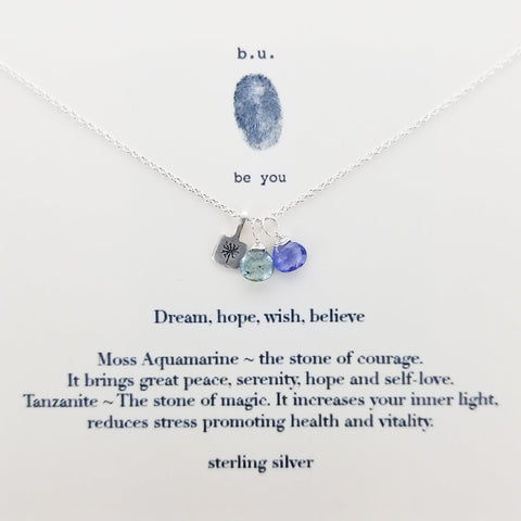 b.u. Dream Hope Wish Believe Necklace On Quote Card