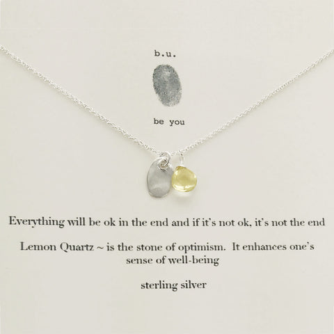 b.u. Everything Will Be Ok Necklace On Quote Card