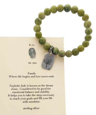 b.u. Family Where Life Begins Jade Tree Charm Bracelet With Card