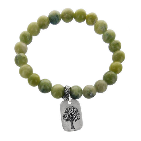 b.u. Family Where Life Begins Jade Tree Charm Bracelet