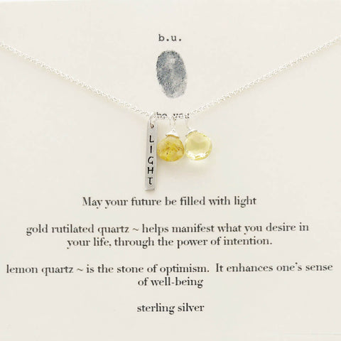 b.u. May Your Future Be Filled With Light Necklace On Quote Card