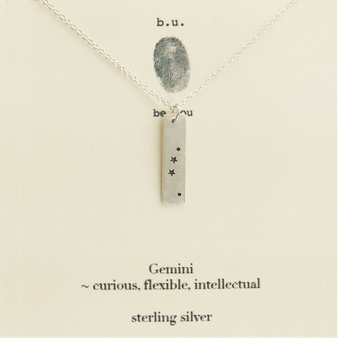 b.u. Gemini Zodiac Necklace on Quote Card